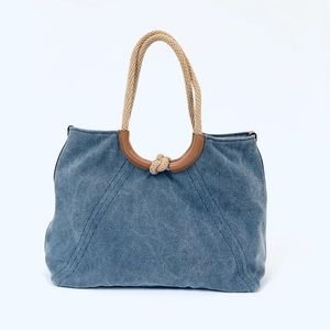 Michael Kors Isla Ring Shoulder Tote Washed Canvas